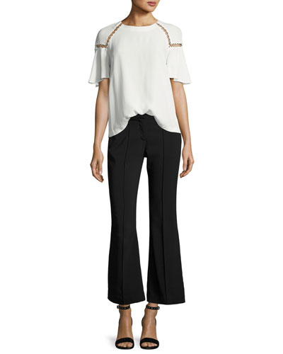 Sheila Short-Sleeve Top w/ Ring Trim and Matching Items