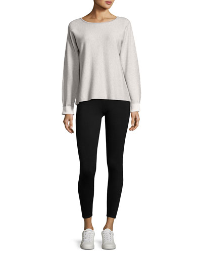 Long-Sleeve Round-Neck Cashmere Blend Sweater and Matching Items