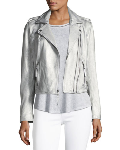 Leolani Metallic Leather Jacket, Gold and Matching Items