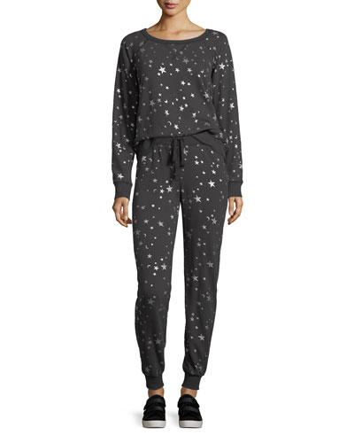 Edrie Night-Sky Round-Neck Cotton Sweatshirt and Matching Items