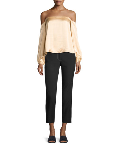 Phillip Cropped Straight-Leg Pants w/ Topstitching and Matching Items