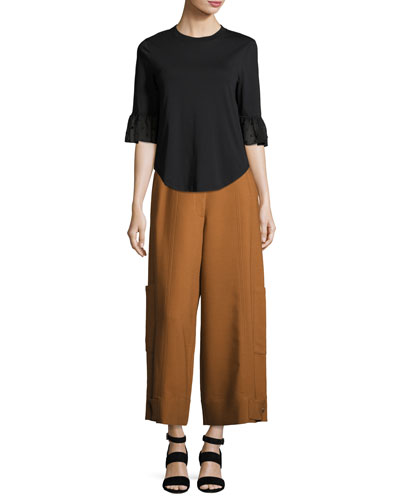 High-Waist Wide-Leg Trousers and Matching Items