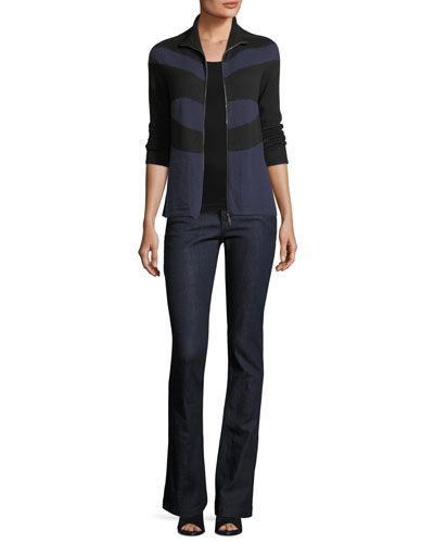 Zip-Front Striped Cashmere Cardigan and Matching Items