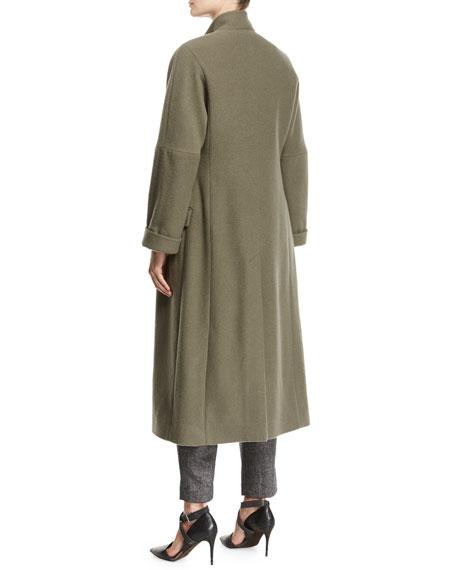 Cashmere Asymmetric-Button Military Coat