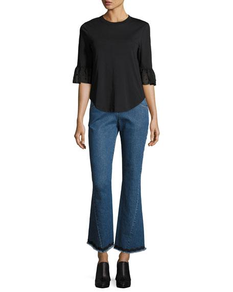 Mid-Rise Flared Raw-Hem Jeans