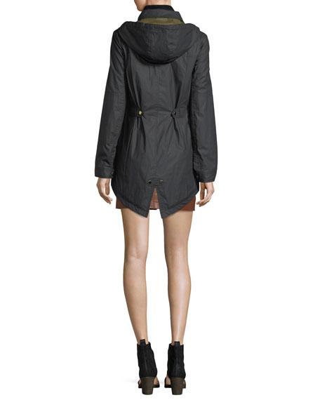 King Rain Zip-Front Parka Jacket w/ Hood
