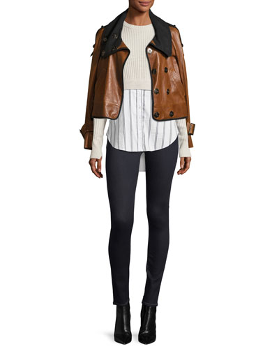 Lafayette Shawl-Collar Snap-Front Leather Jacket and Matching Items