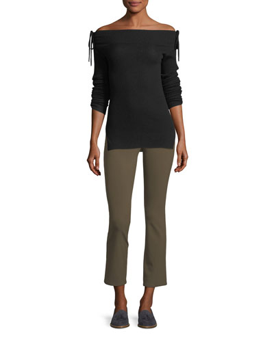 Adelaide Zipper-Pocket Skinny Straight-Leg Pants and Matching Items