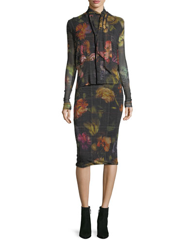 Velvet-Trim Menswear Gardenia Tulle Cardigan and Matching Items