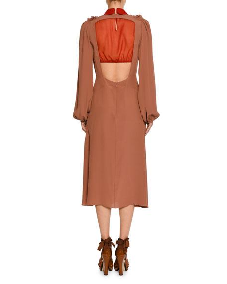 V-Neck Long-Sleeve Cutout-Back Midi Dress