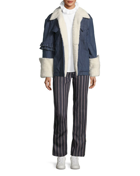 Made For Greatness Oversized Denim Jacket w/ Shearling
