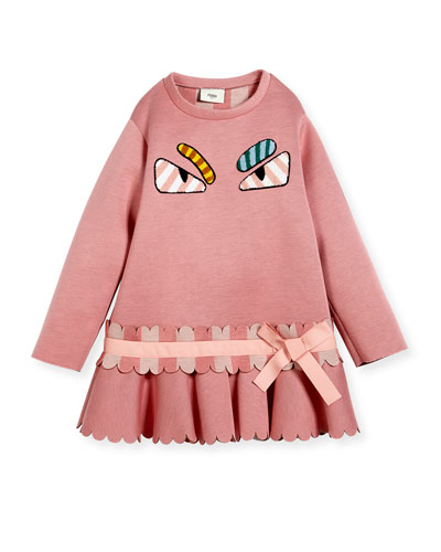 Long-Sleeve Monster Eyes Drop-Waist Dress, Size 4-5 and Matching Items