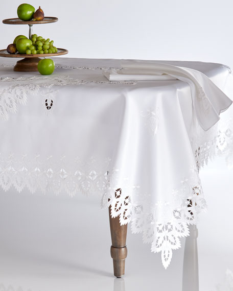 "Zella 90"" Round Tablecloth & 12 Napkins"