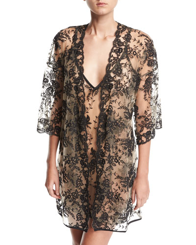 Rosie Sheer-Lace Short Robe and Matching Items