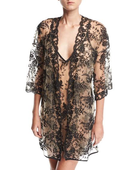 Rosie Sheer-Lace Short Robe