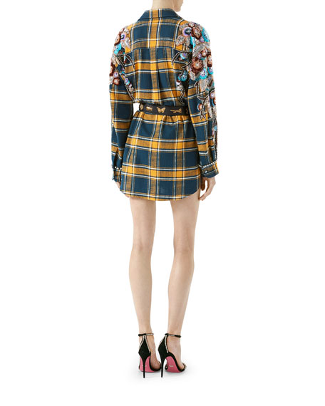 Embroidered Plaid Oversize Shirt