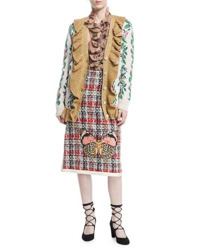 Intarsia Jacquard Flowers Wool Cardigan and Matching Items