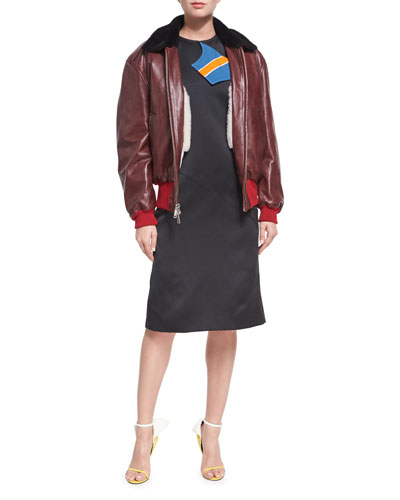 Leather Bomber Jacket with Shearling Lining and Matching Items