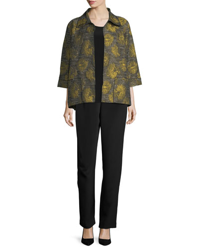 Floral Interest Jacquard Jacket, Plus Size  and Matching Items