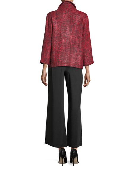 Glazed Tweed Zip-Front Jacket