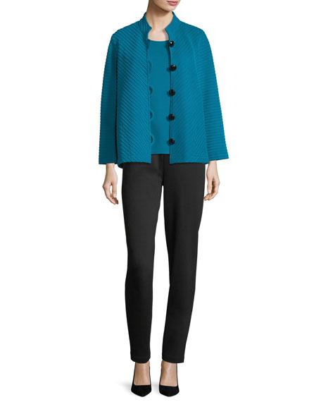 Wool Ottoman Knit Jacket, Plus Size