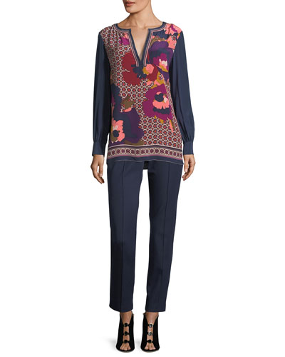 Engineered Mixed-Print Long-Sleeve Silk Tunic and Matching Items