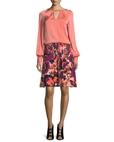 Floral-Print A-Line Silk Skirt w/ Pintuck Details and Matching Items