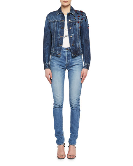 Cropped Jean Jacket with Rosettes