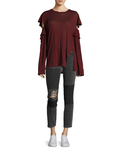 Lep Mid-Rise Patched Distressed Skinny Jeans and Matching Items