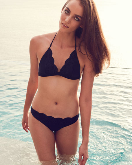 Scalloped Broderie Anglaise Triangle-Cup Swim Top