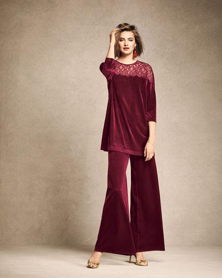 Velvet Tunic w/ Lace Yoke, Plus Size