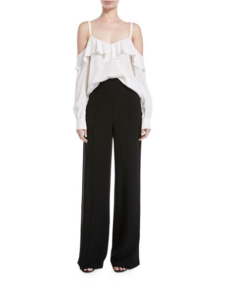 Marlo High-Waist Wide-Leg Crepe Pants