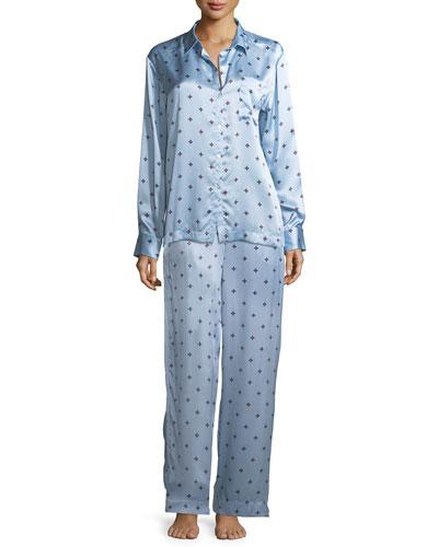 Sky Star Silk-Satin Pajama Top and Matching Items