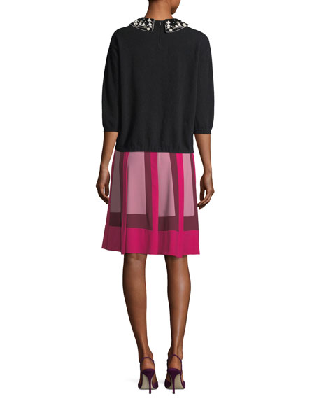 Colorblock-Pleated Crepe Skirt, Pink