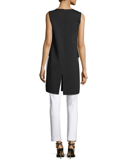 Sleeveless Silk-Panel Tunic