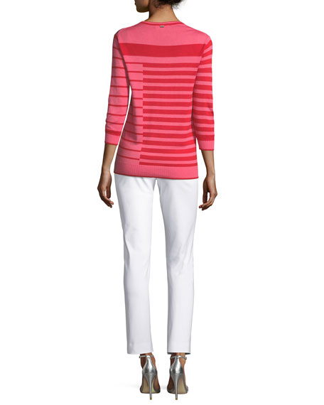 Intarsia Striped Knit Sweater
