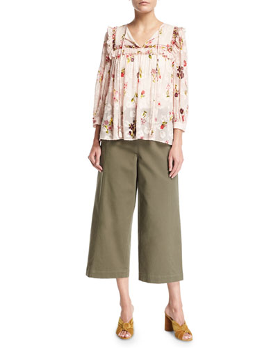 in bloom split-neck floral-print chiffon top and Matching Items