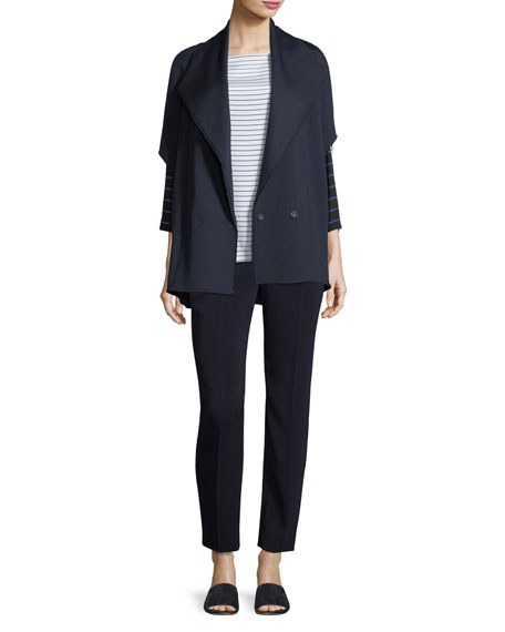 Classic Cady Stretch Cropped Pants, Navy