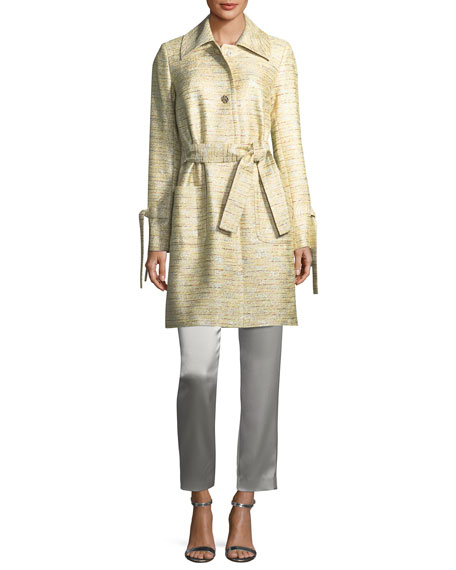 Metallic Tweed Belted Coat