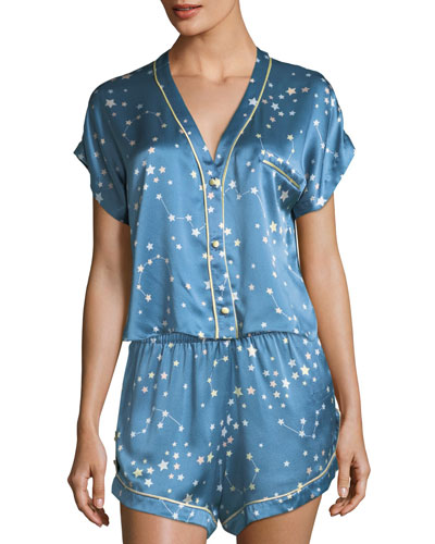 Joanie Star-Print Silk Pajama Top and Matching Items