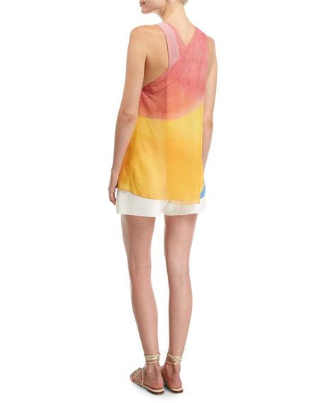 Watercolor Silk Twist-Back Tank