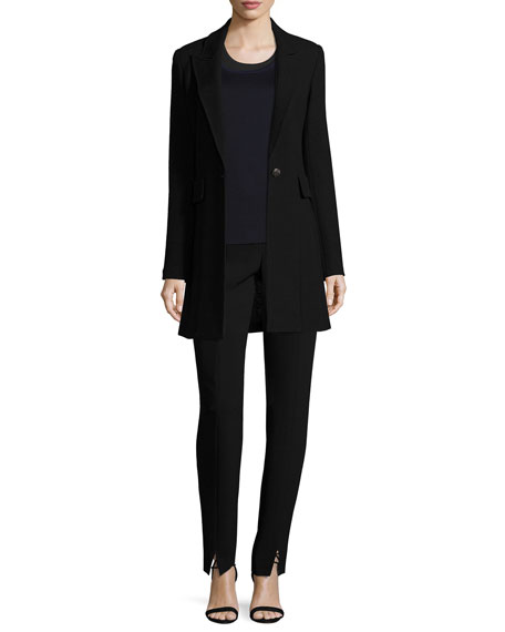 Micro Boucle Long Blazer, Black