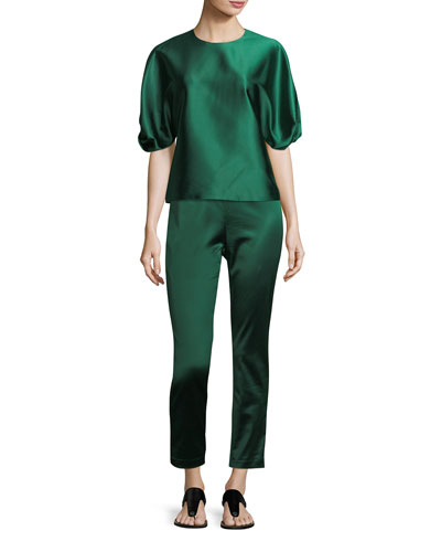 Satin Straight-Leg Trousers and Matching Items