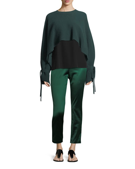 Tie-Sleeve Cropped Cashmere Sweater