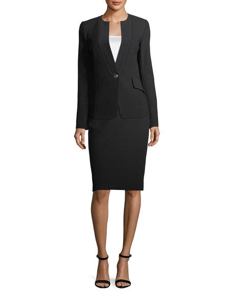 Micro Boucle Knit Jacket w/ Crepe Lapel, Black