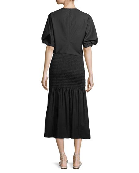 Smocked High-Waist Midi Skirt