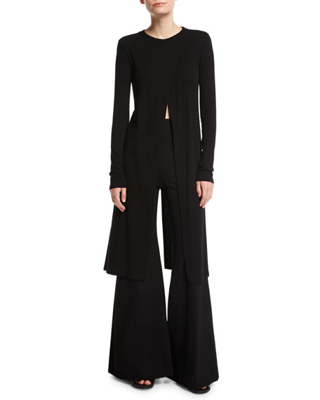 Jersey Flare-Leg Trousers