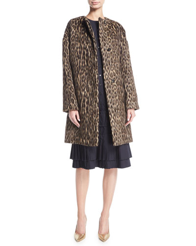 Cynthia Brushed Leopard-Print Caban Coat and Matching Items