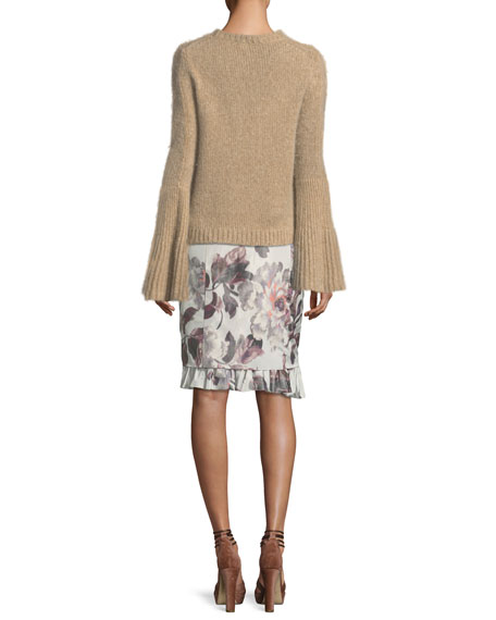 Kaelie Cashmere Bell-Sleeve Sweater