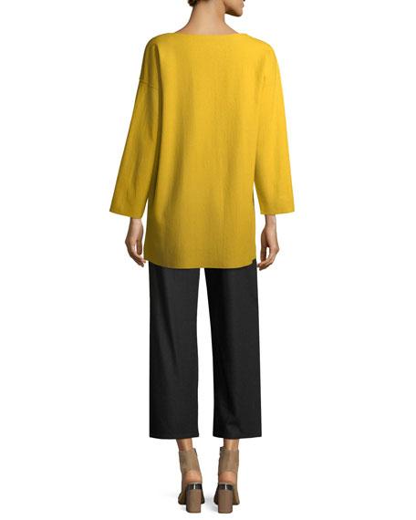 Bateau-Neck Boiled Wool Jersey Top